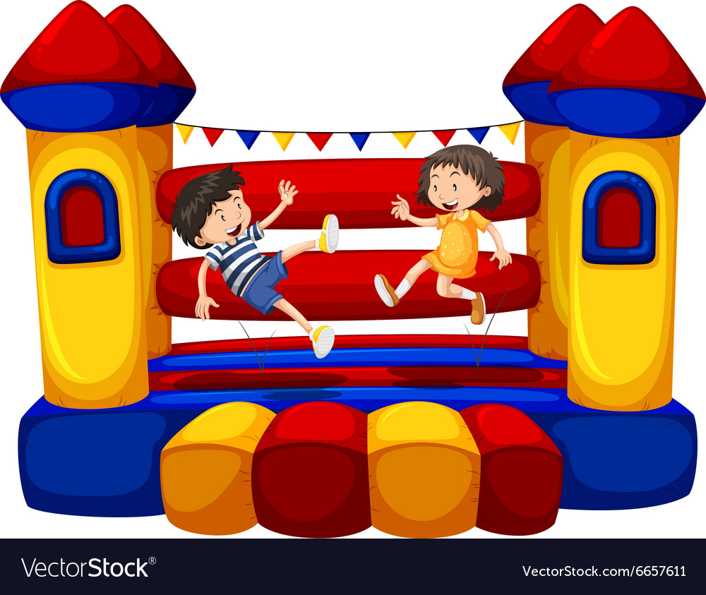 Boy and girl bouncing on the funhouse