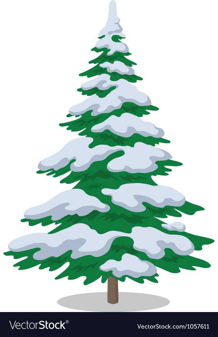 Christmas Tree Vector Image.Christmas Tree With Snow