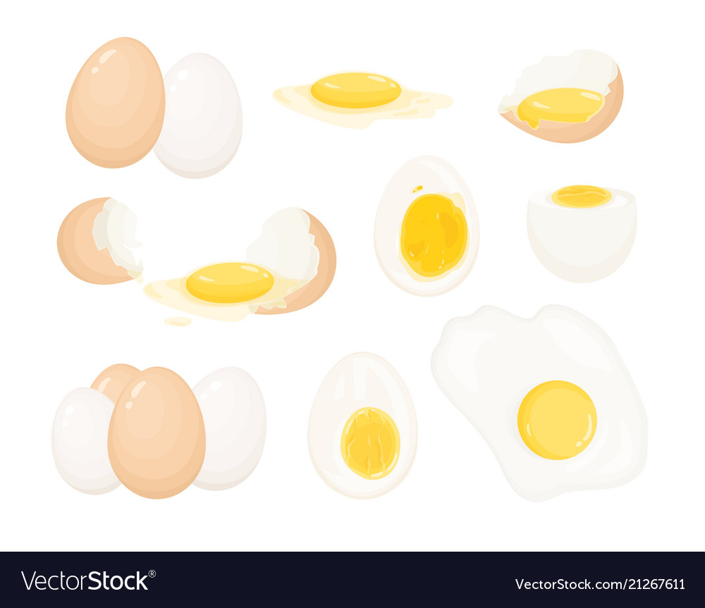 Collection of raw boiled and fried eggs peeled