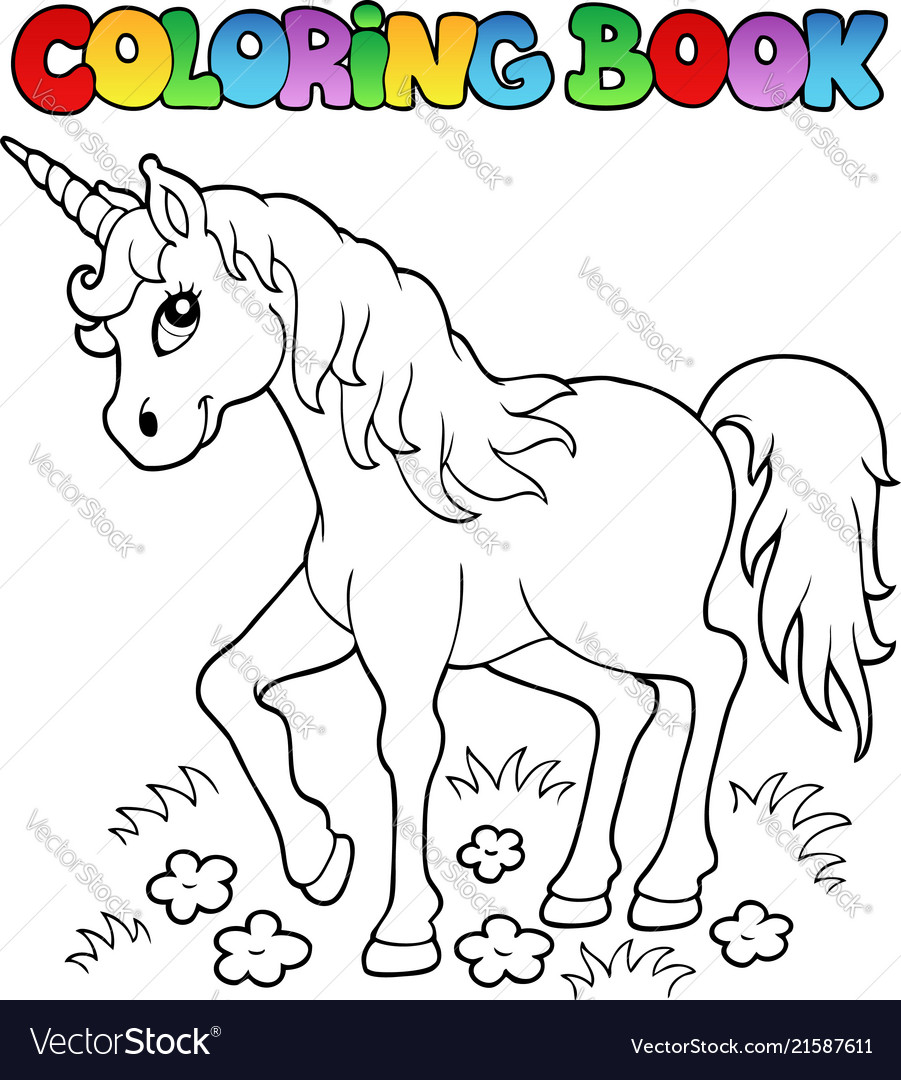 - Coloring Book Unicorn Theme 1 Royalty Free Vector Image