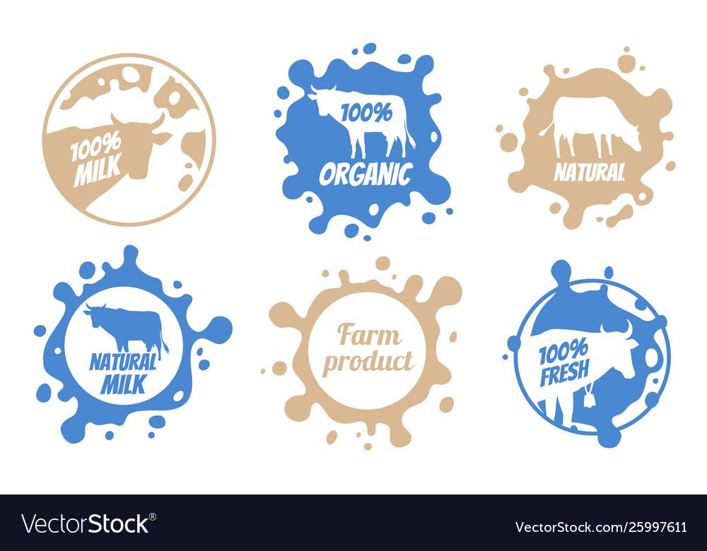 Dairy vintage logos milk badges cheese