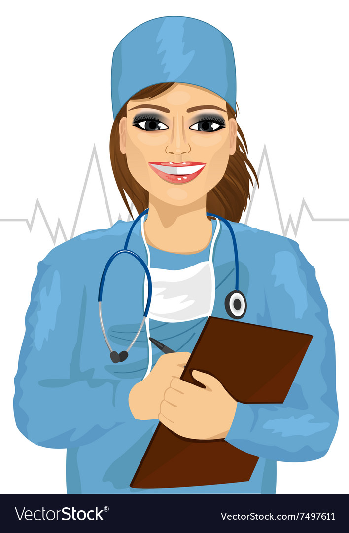 Female Doctor Or Nurse Taking Notes Royalty Free Vector