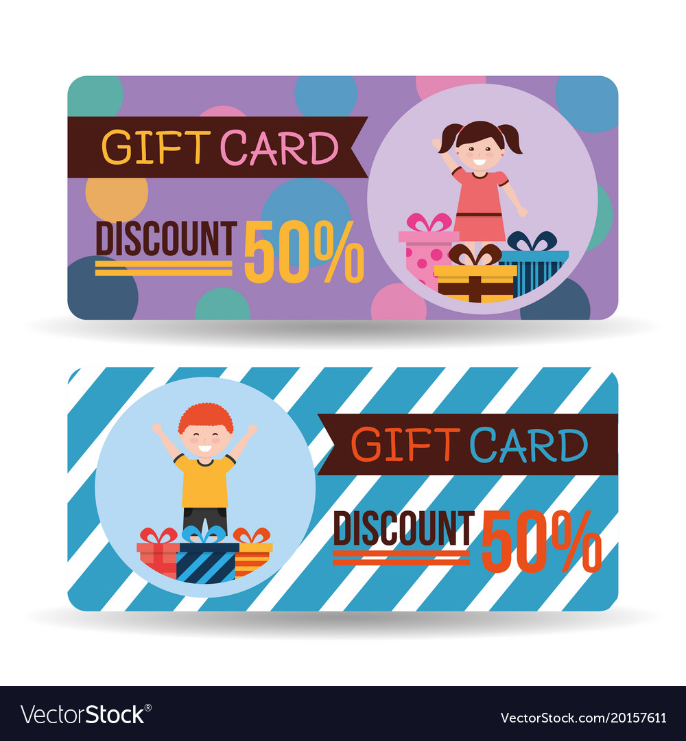 Gift Card Discount Kids Gift Boxes Royalty Free Vector Image