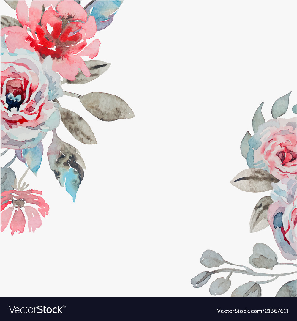 Handmade watercolor background with roses