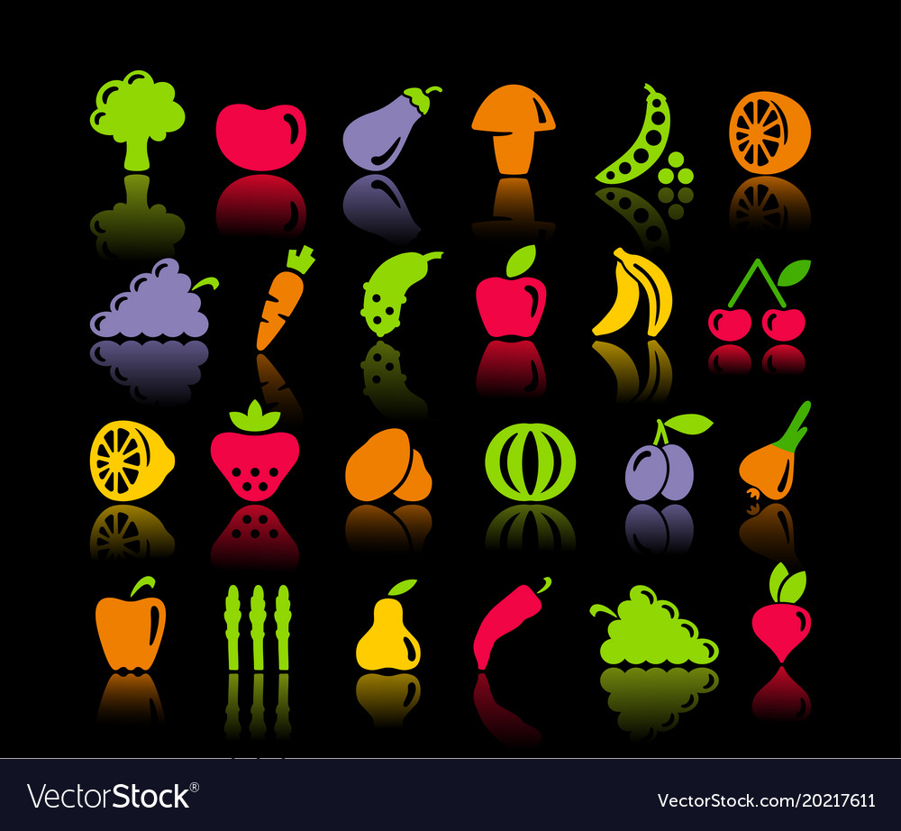 Icons of vegetables and fruit