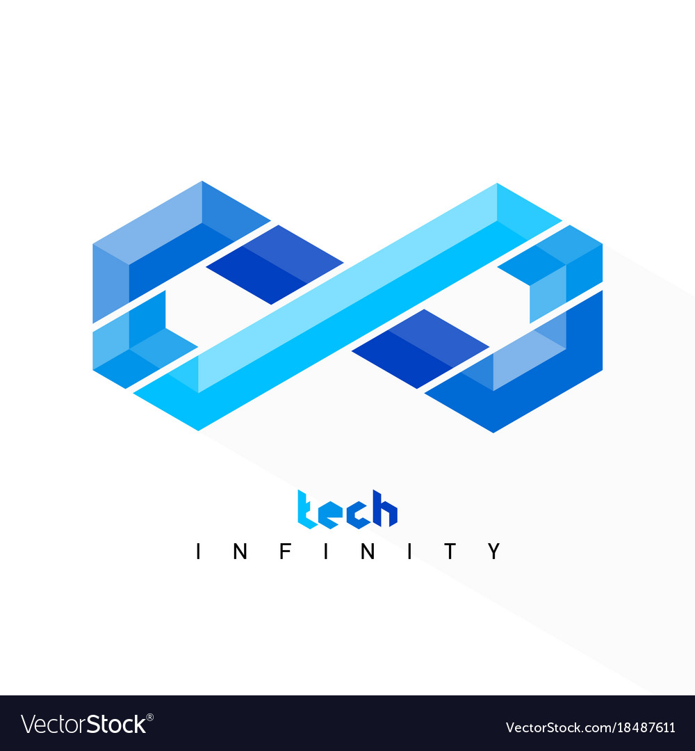Infinity symbol tech style limitless sign icon vector image