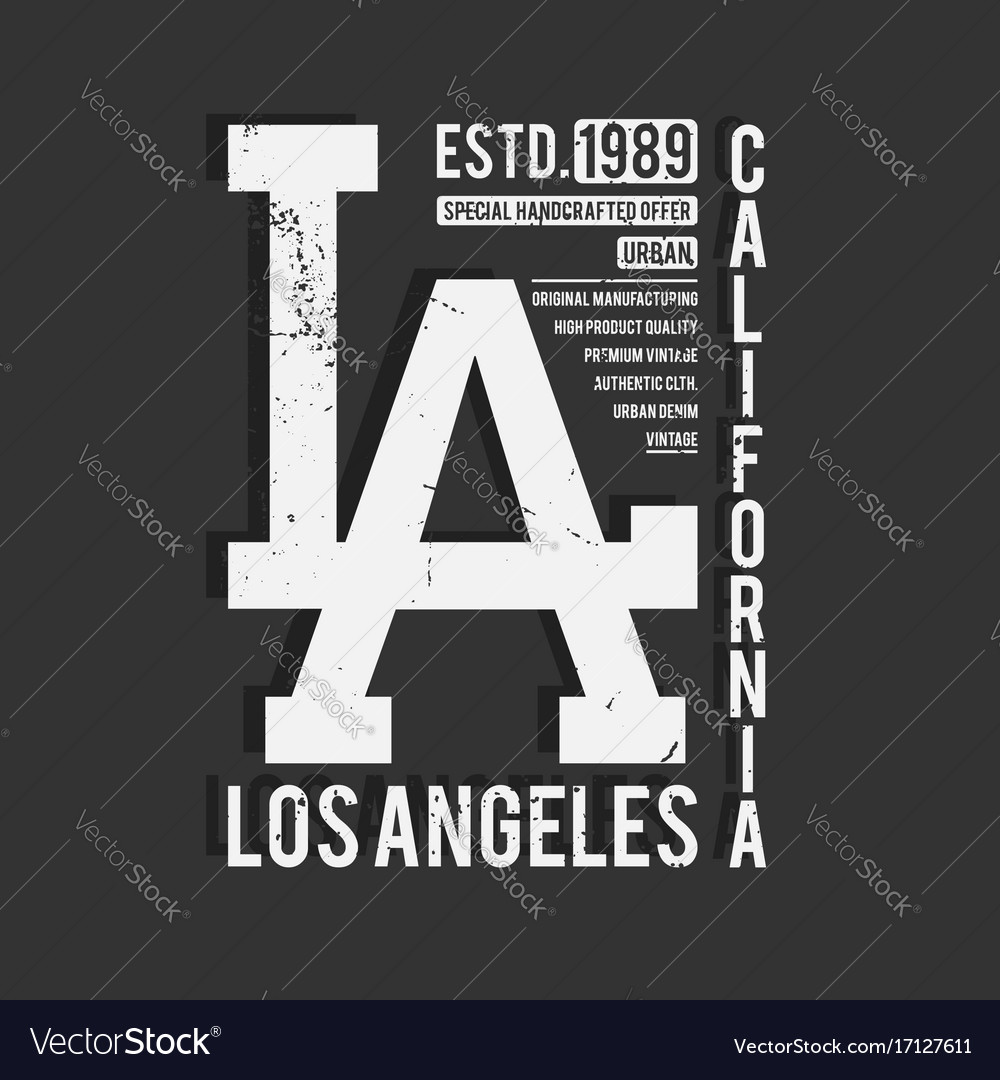 Los angeles california typography monochrome vector image
