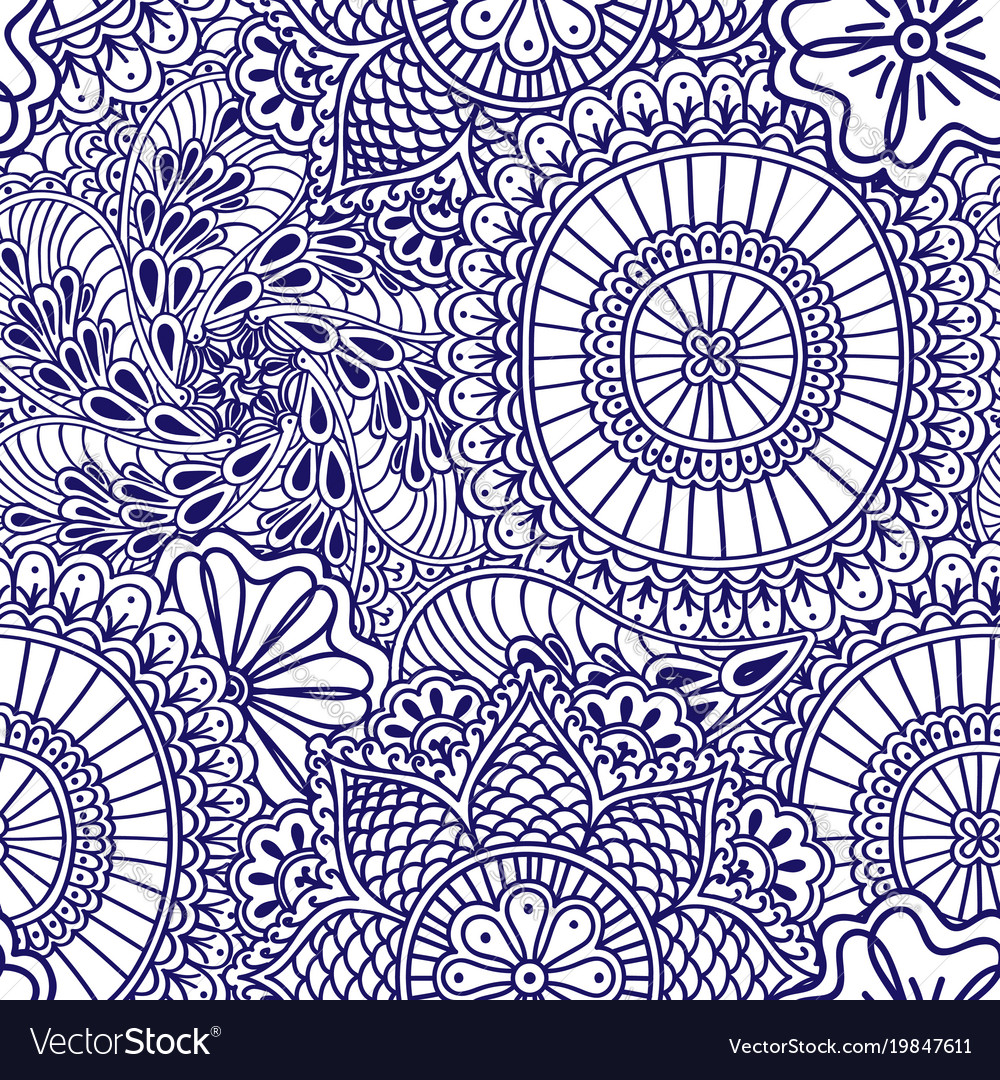 Mehendi seamless pattern of blue with white color