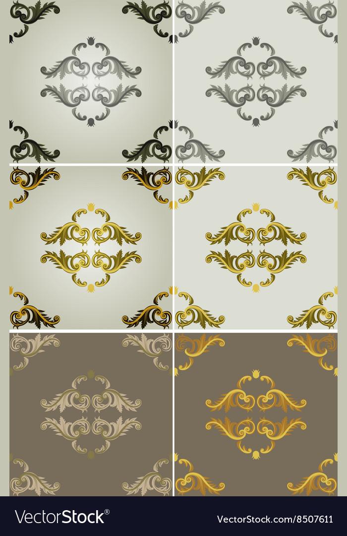 Royal Filigree Patterned Backdrop Set vector image