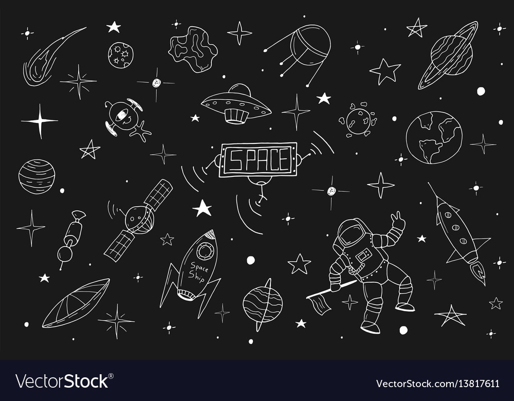 Space set in doodle stylehand drawn vector image