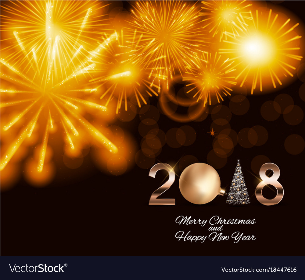 2018 new year background with christmas ball vector image
