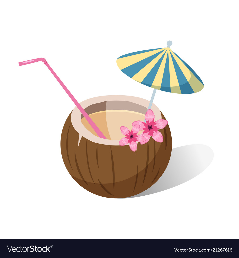 Aloha tropical coconut cocktail with colorful