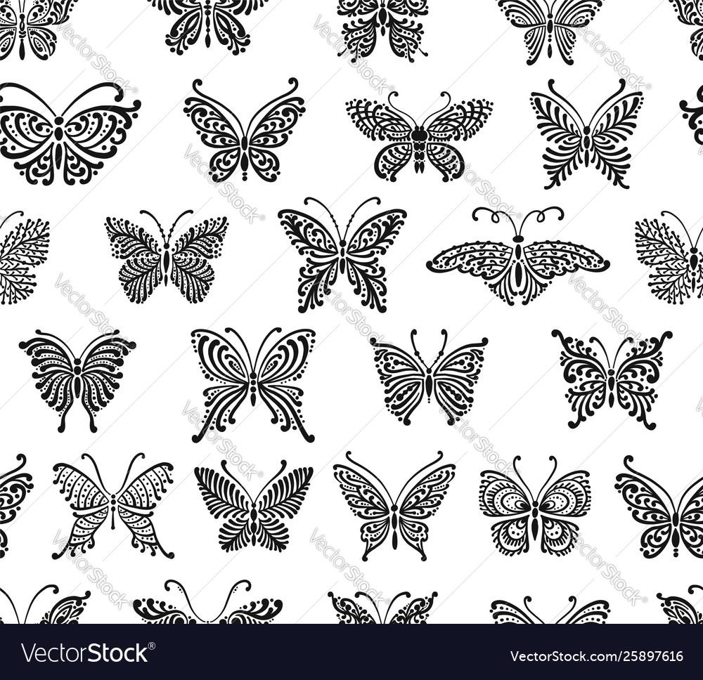 Art butterflies seamless pattern for your design