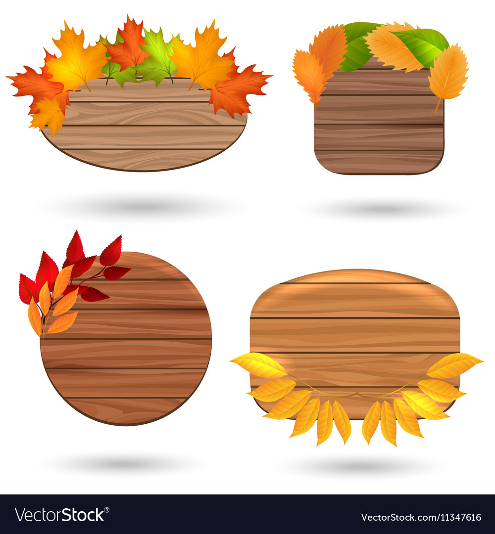 Autumn wood banners with colorful leaves
