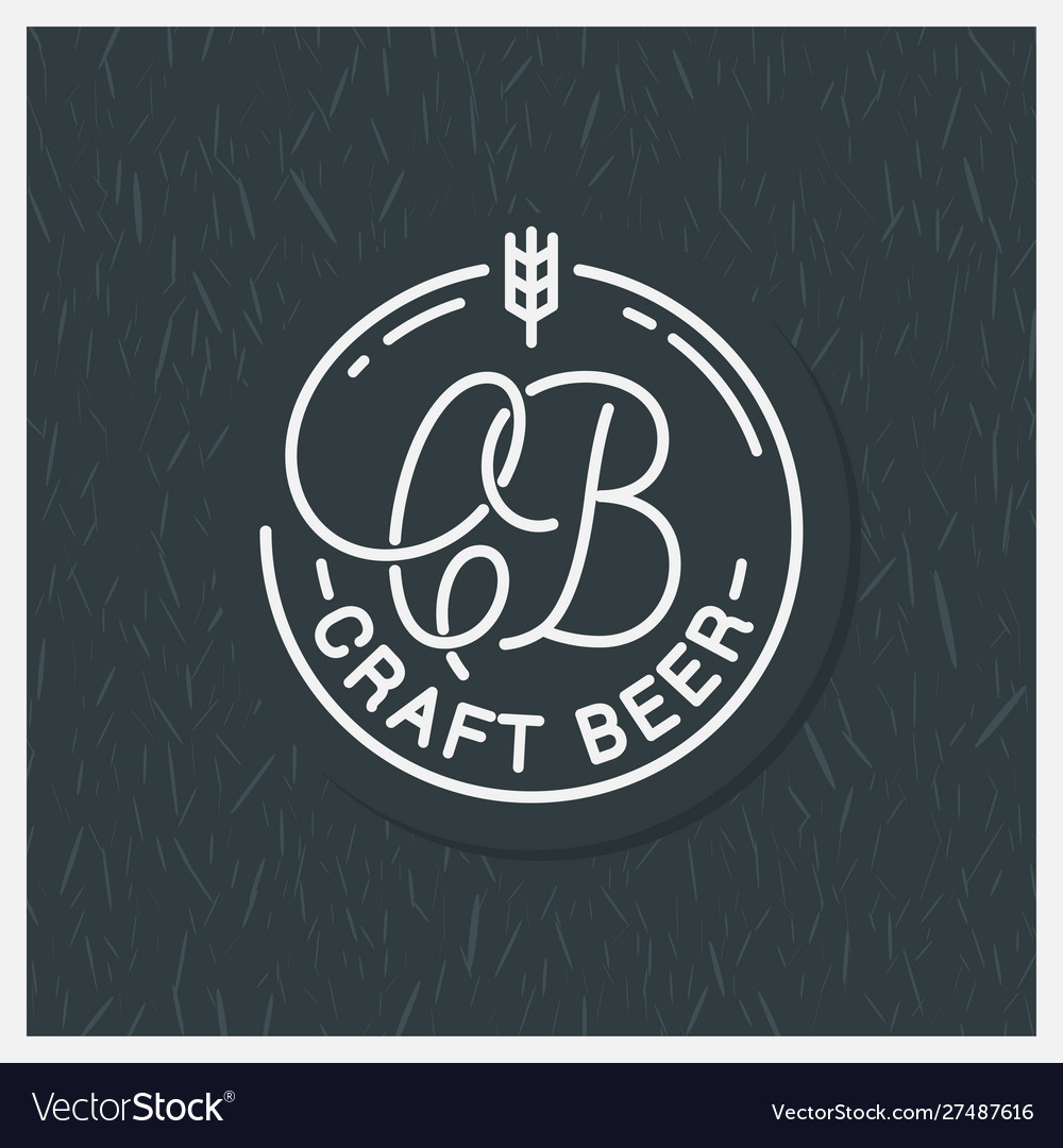 Craft beer logo round linear c and b letters