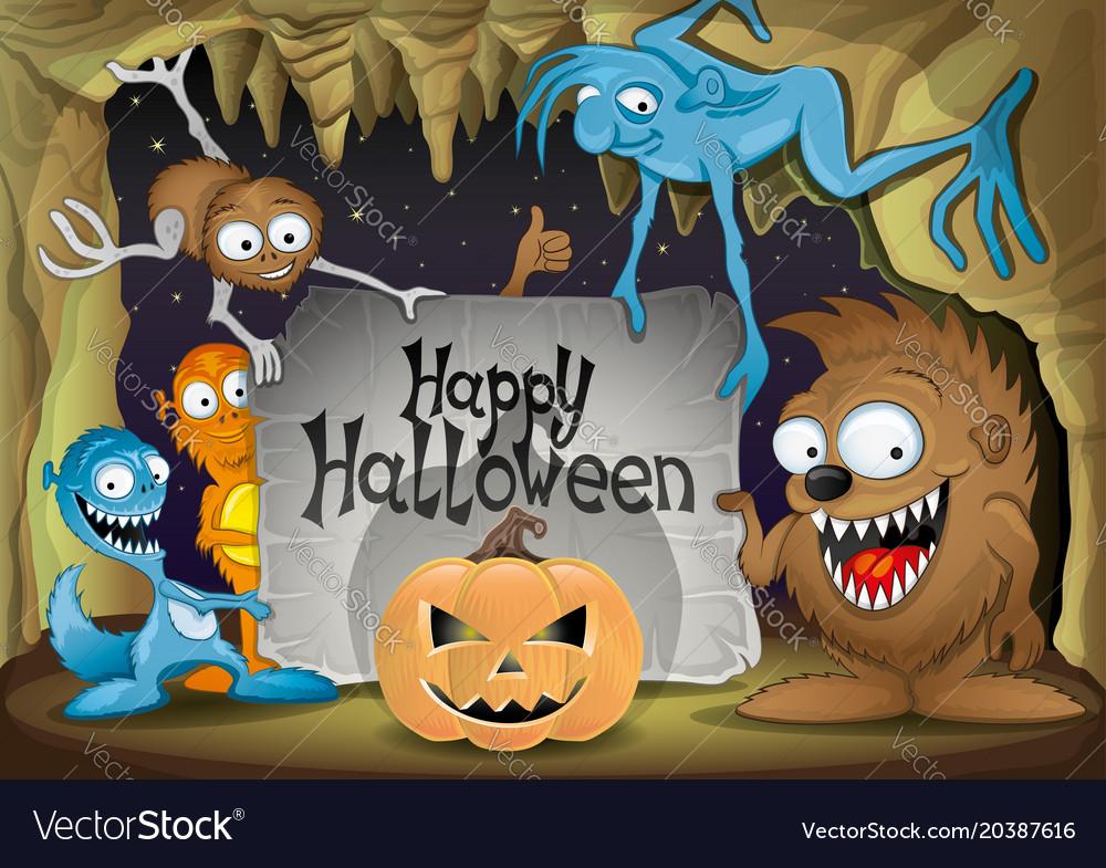 Halloween pumpkin and monsters
