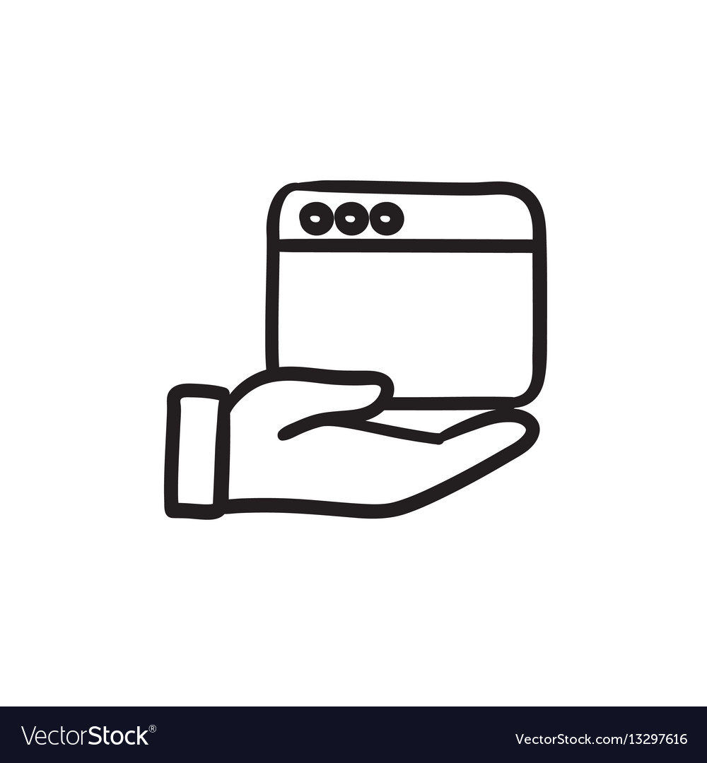 Hand holding browser window sketch icon