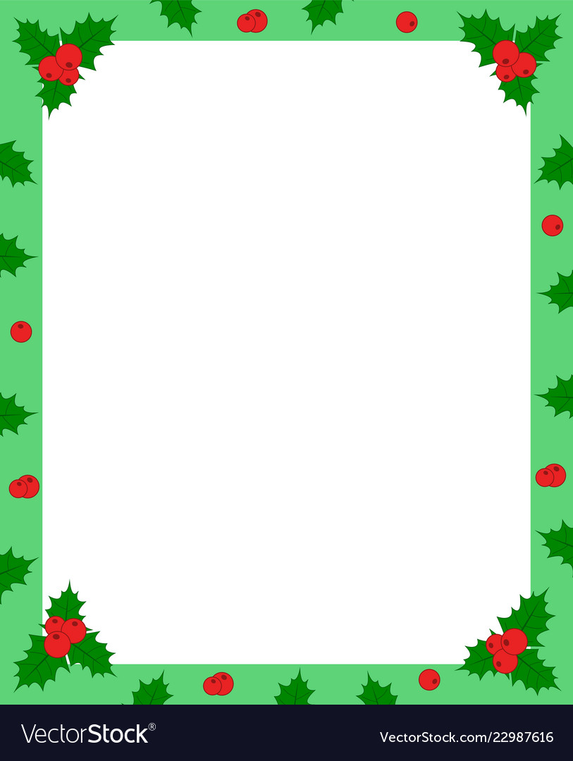 Holly berry green christmas frame border for