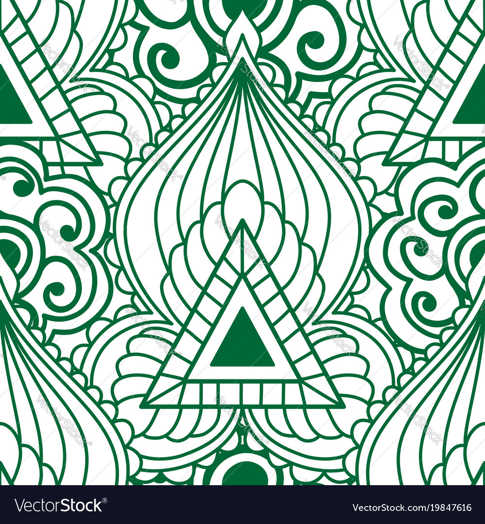 Mehendi seamless pattern of green with white color
