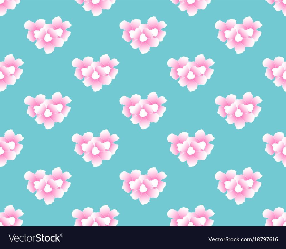 Pink trumpet flower seamless on blue mint vector image mightylinksfo