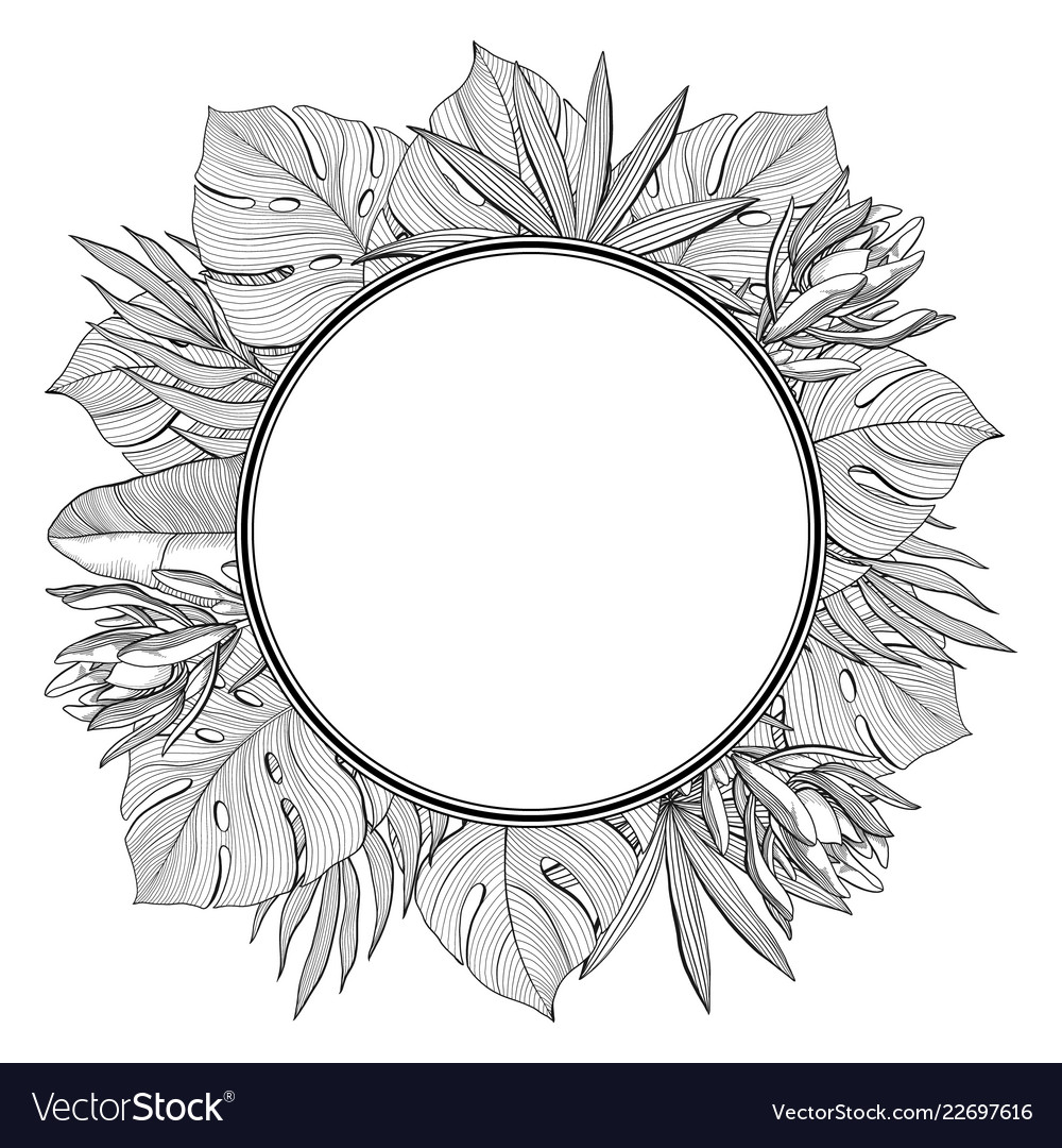 Round frame with tropical jungle palm leaves