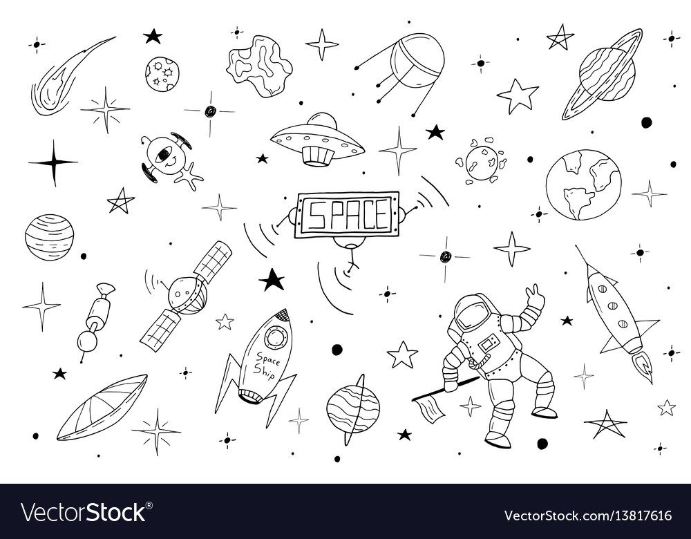 Space set in doodle style
