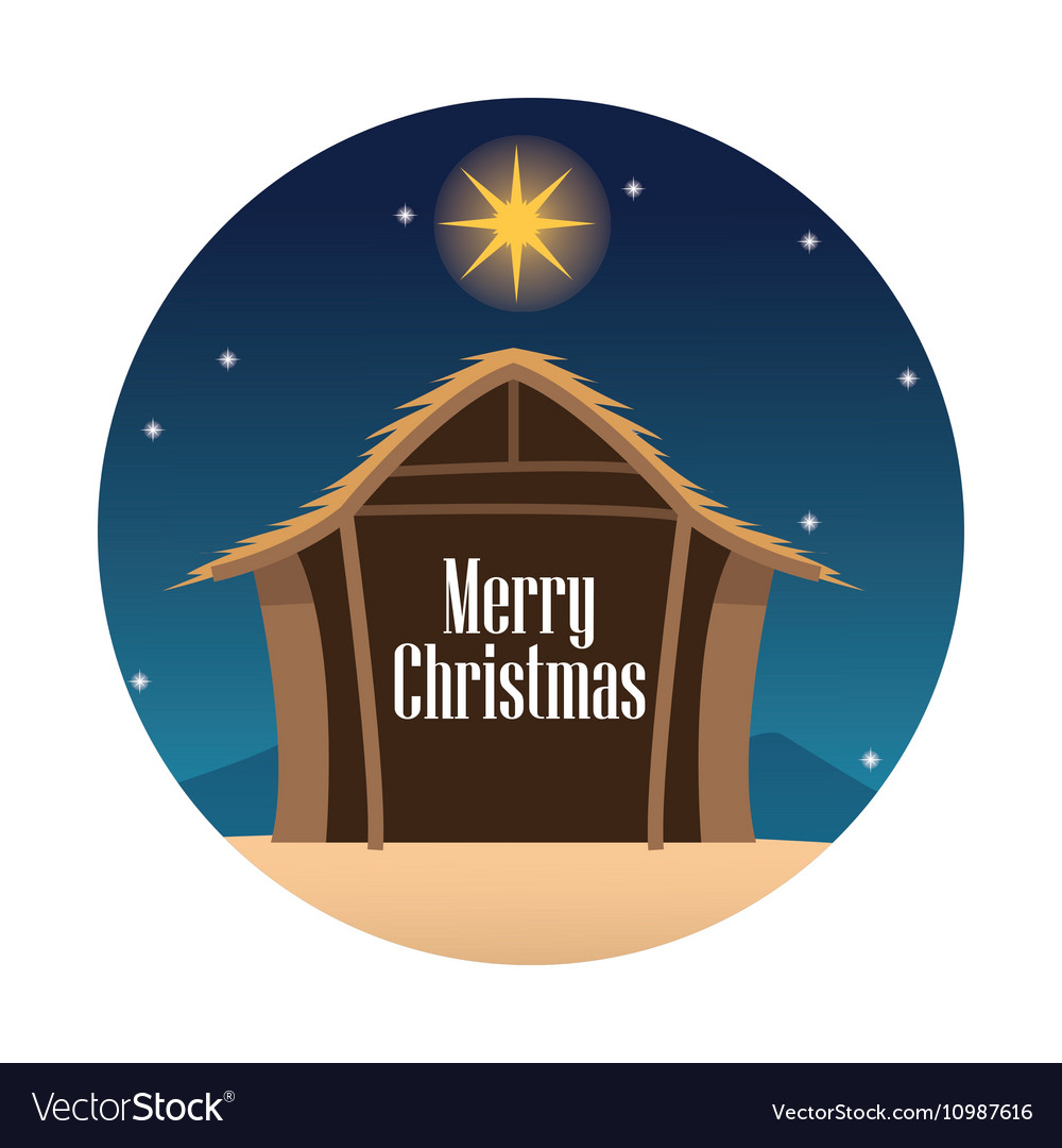 Wood house and star design vector image
