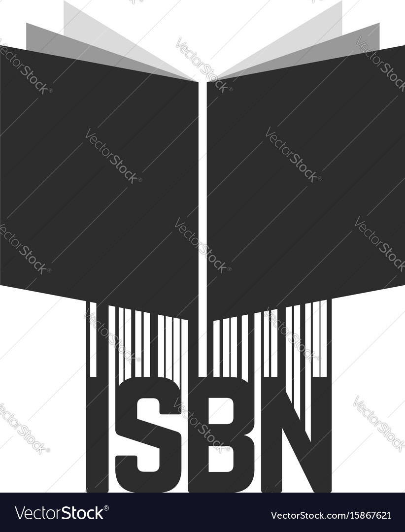 Black isbn with barcode and book vector image
