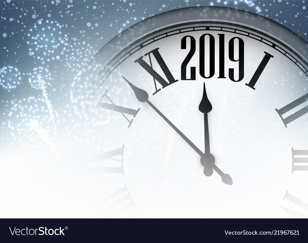 blue shiny 2019 new year background with clock vector image