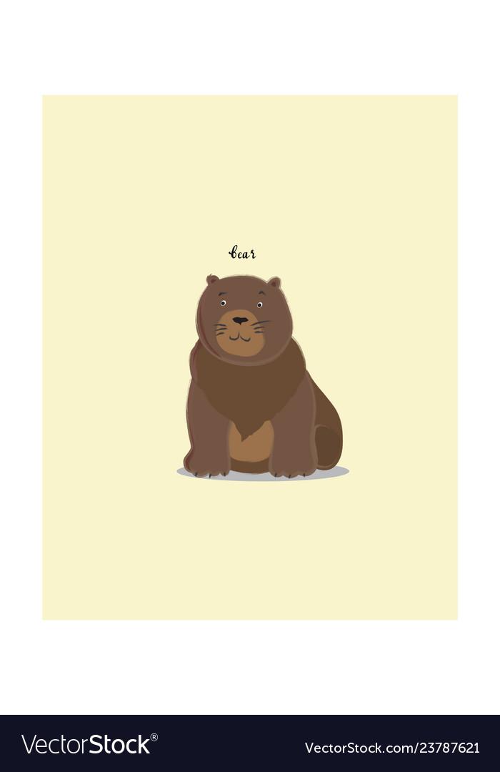 Brown sitting bear cartoon character