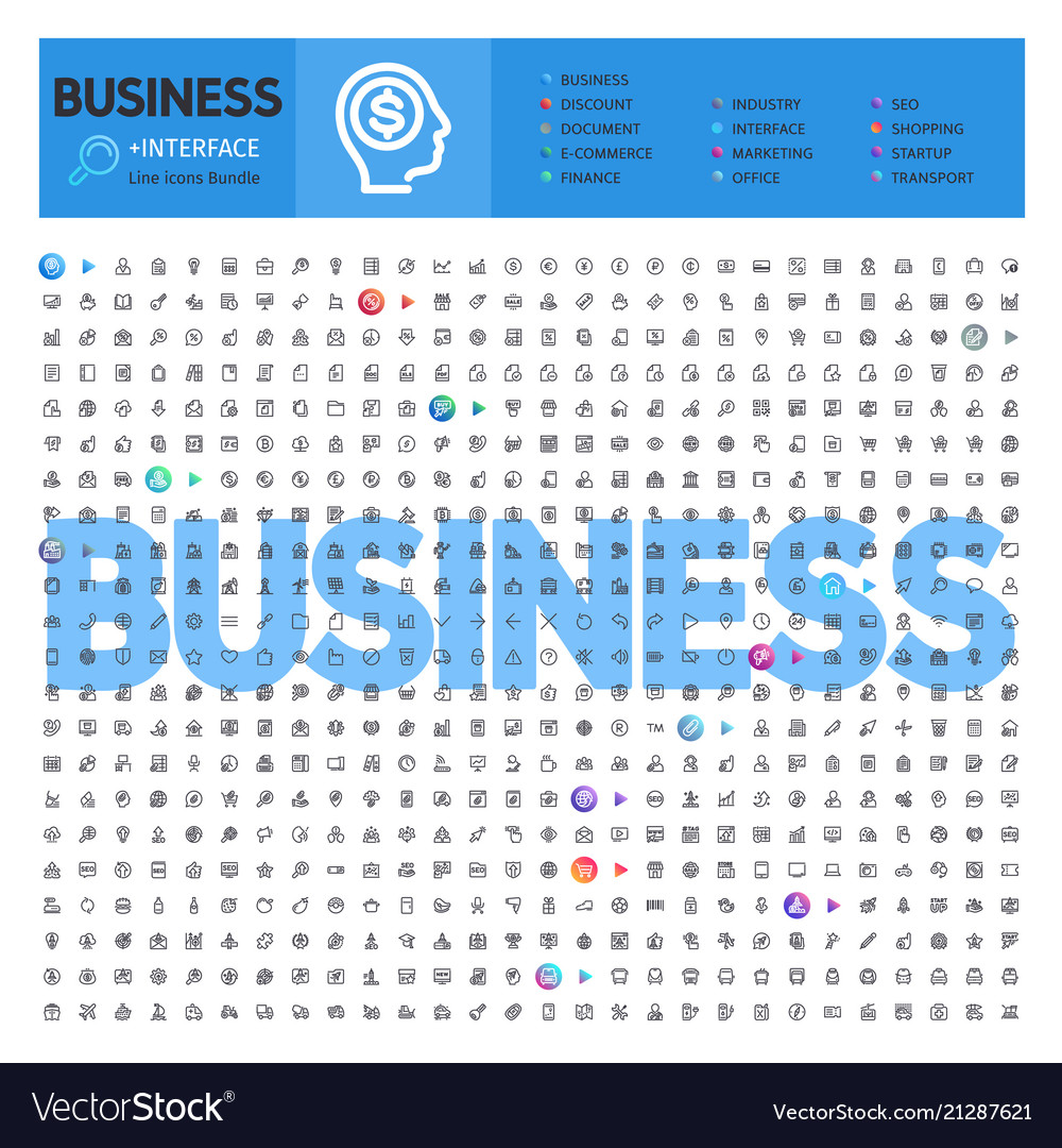 Business thematic collection line icons