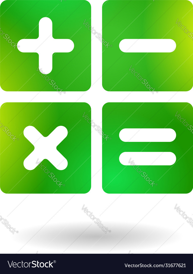 Calculator Icon Application Sign In Green Style Vector Image