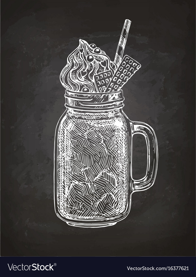 Chalk sketch of milkshake vector image