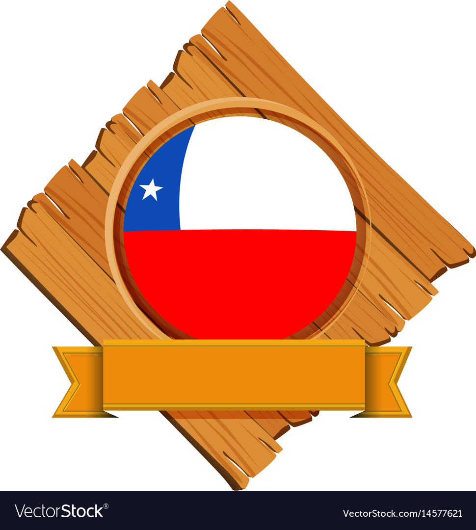 Chile flag on round badge with banner