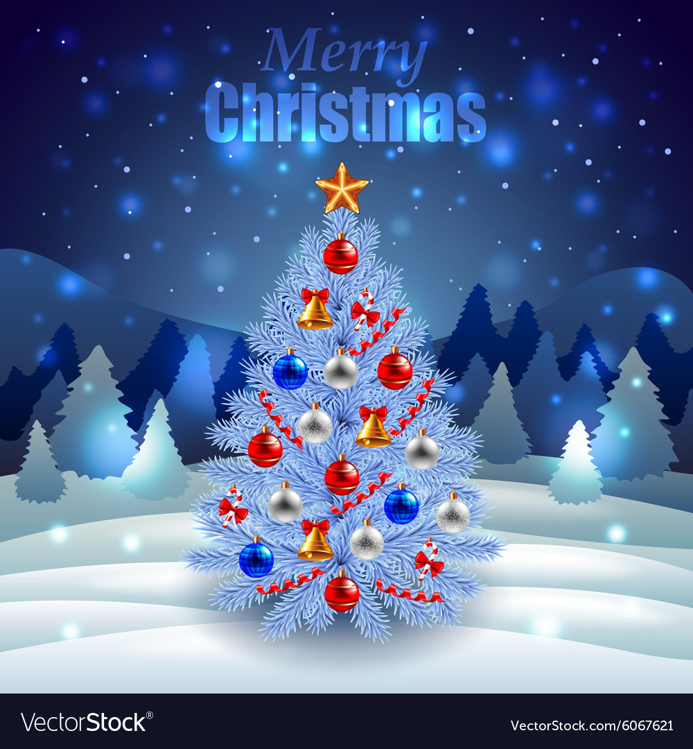 Decorated Christmas tree on night winter scenery vector image