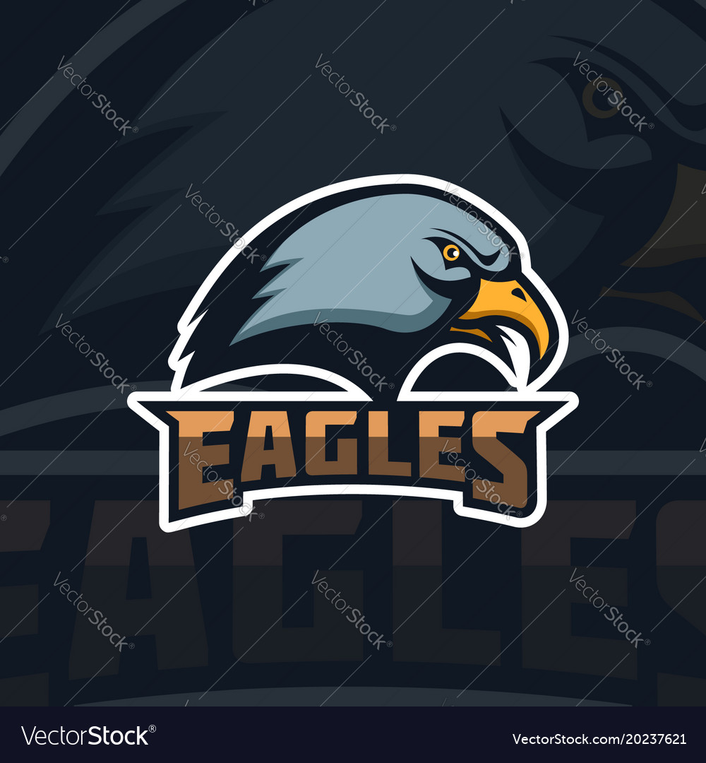 Eagles emblem template with eagle head sport team