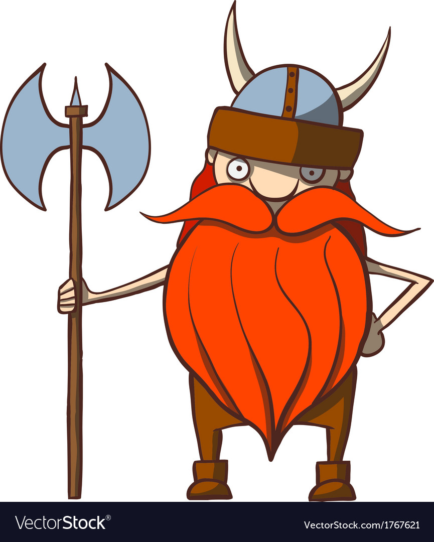 Funny Cartoon Viking With An Ax Royalty Free Vector Image