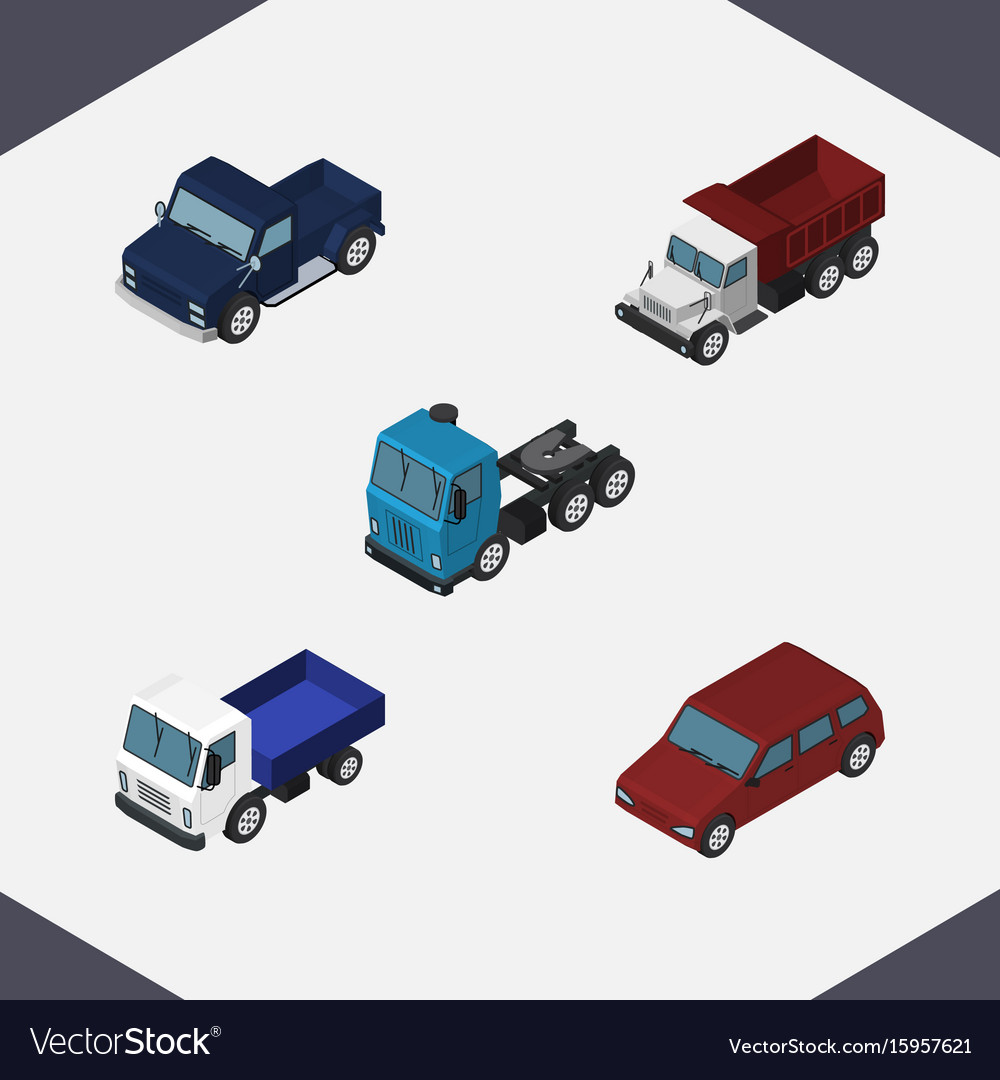 Isometric transport set of freight car suv and