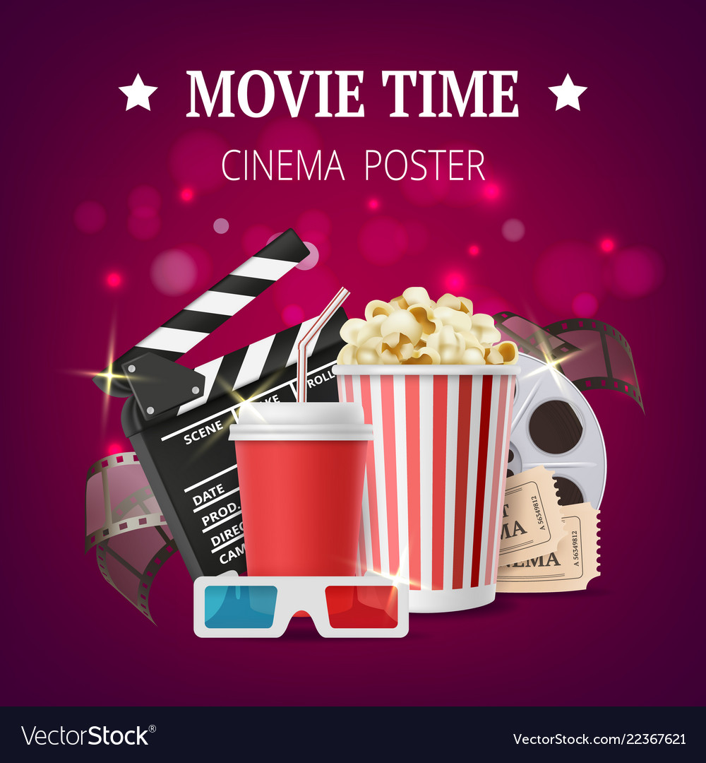 Movie Poster Cinema Placard Design Template With