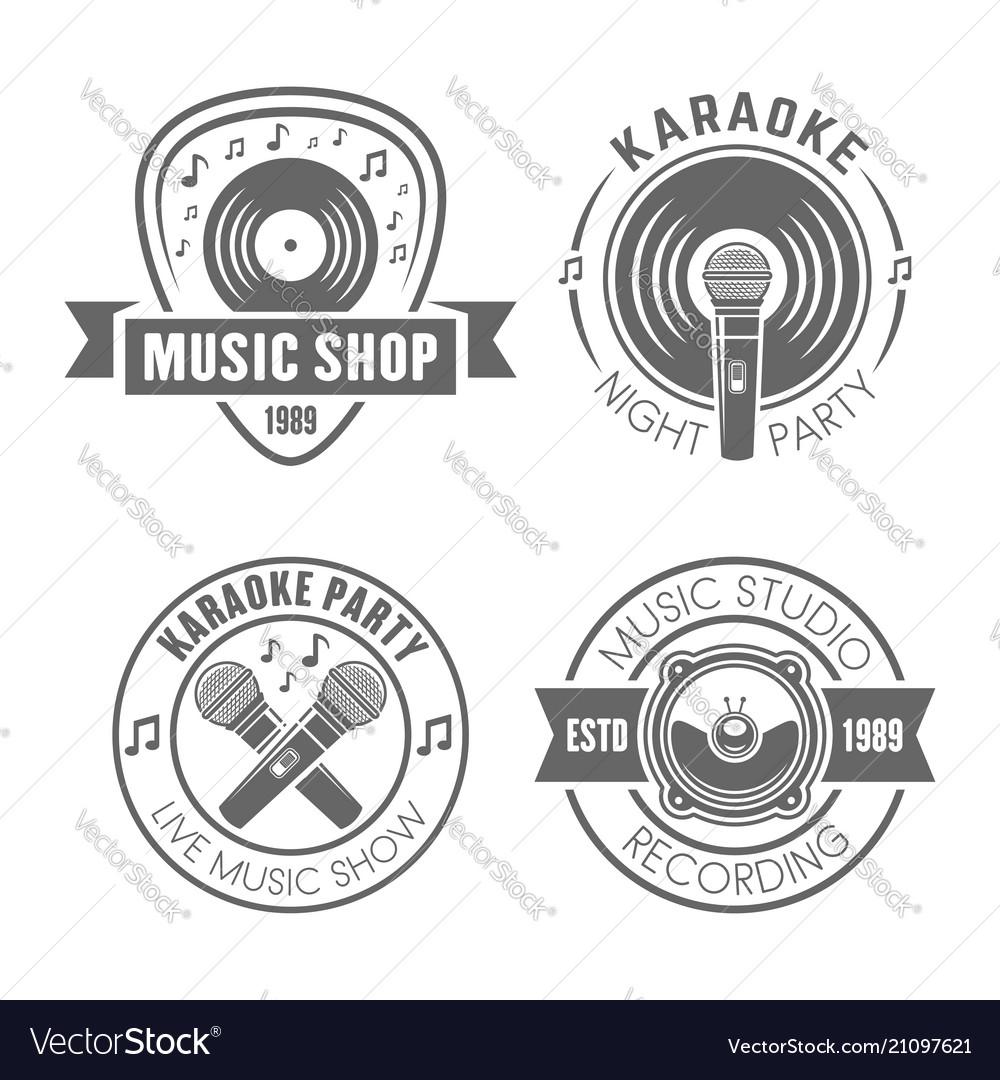 Music monochrome labels badges emblems