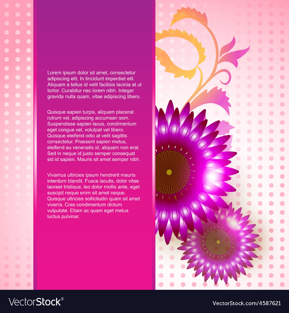 Pink Color Flower Background Royalty Free Vector Image