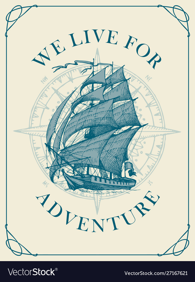 Retro travel banner with sailing ship and wind