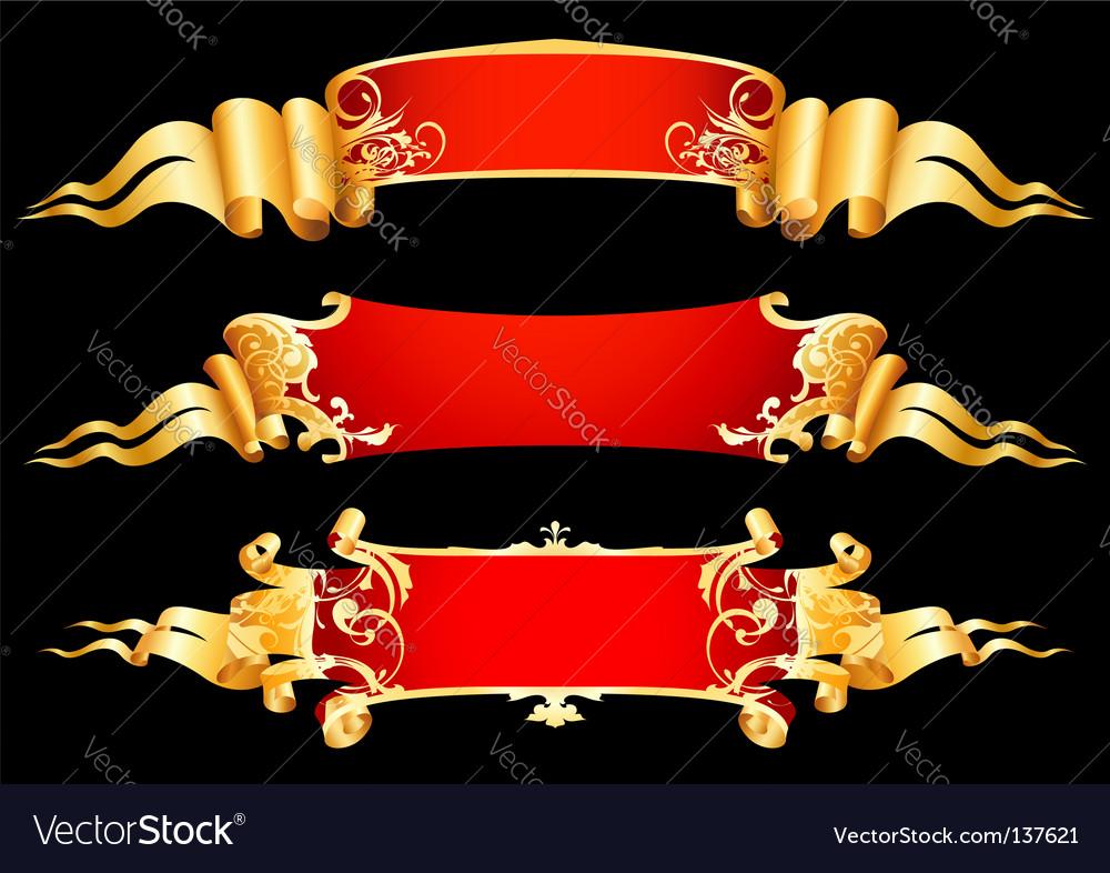 Set of 3 red ribbon vector image