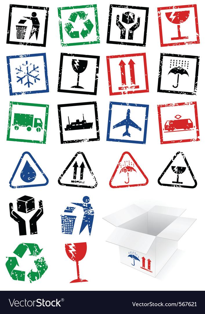 Set packing symbol stamps