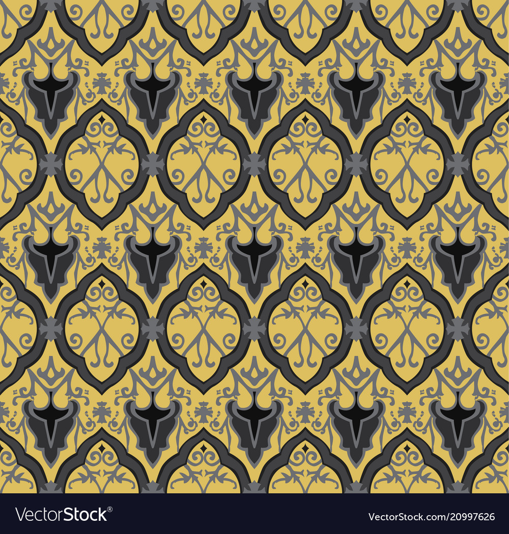 Black royal pattern seamless background vector image
