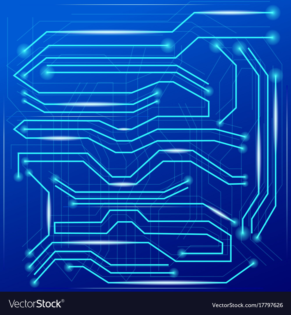 Blue Abstract Background With High Tech Circuit Vector Image Old Computer Board