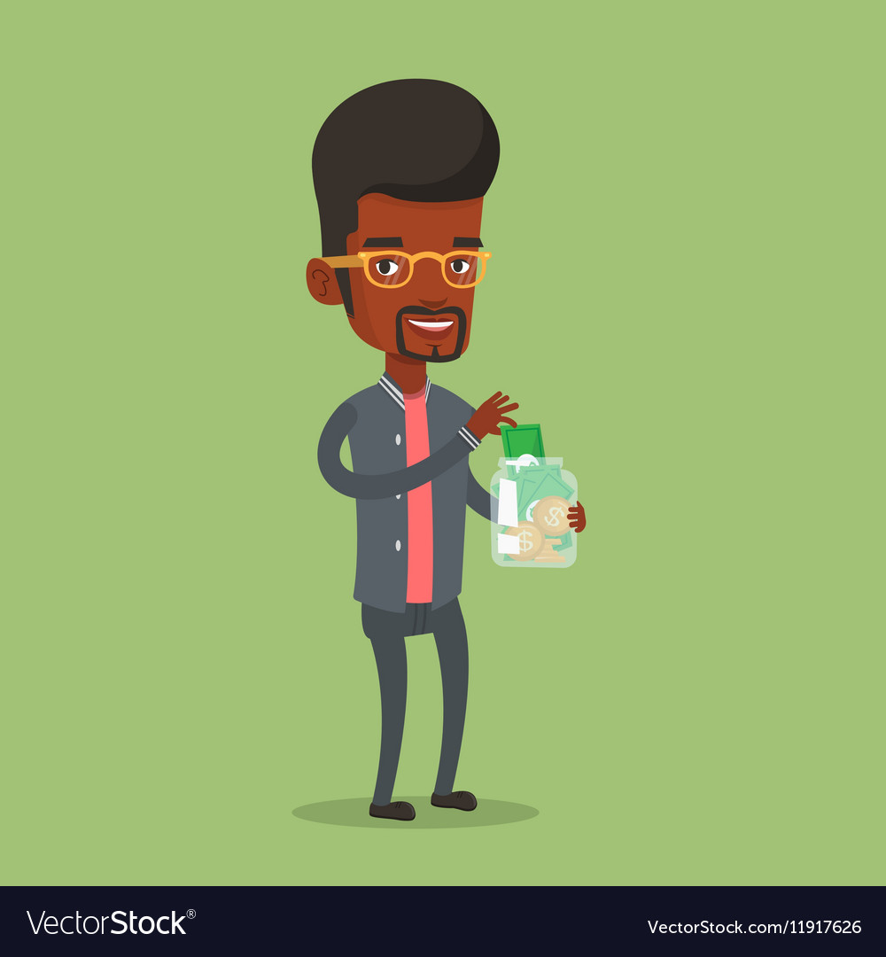 Businessman putting dollar money into glass jar vector image