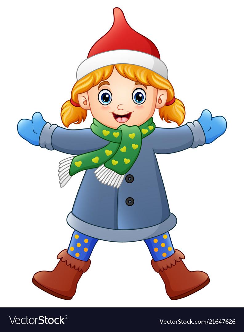 cartoon girl in winter clothes waving royalty free vector