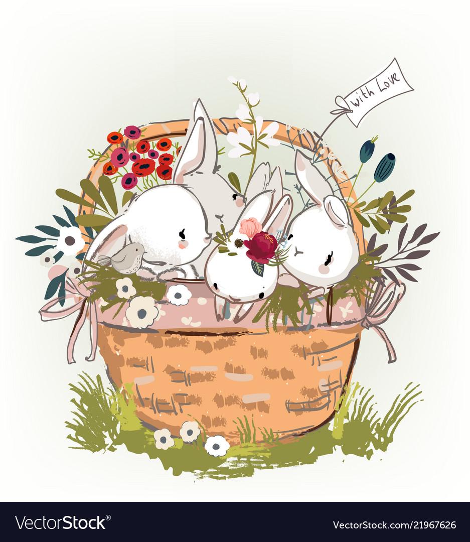 Cute Birthday Hares In Basket Vector Image