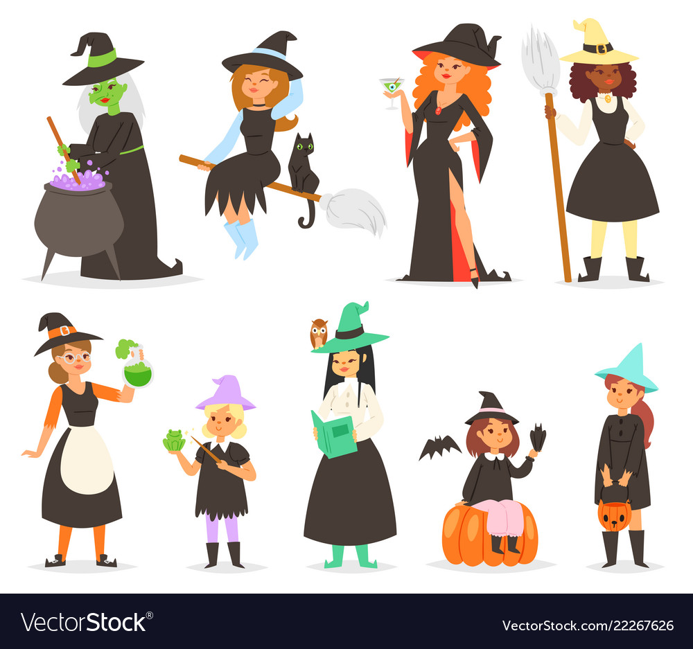 Cute little halloween girl witchs with broom